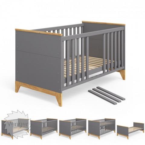 """Ліжечко трансформер """"Міла"""" СІРИЙ - меблі з дерева в дитячу та спальню від фабрики Venger"""