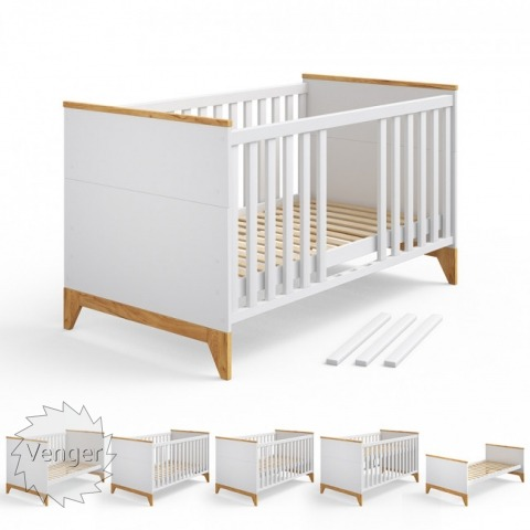 """Ліжечко трансформер """"Міла"""" БІЛИЙ - меблі з дерева в дитячу та спальню від фабрики Venger"""