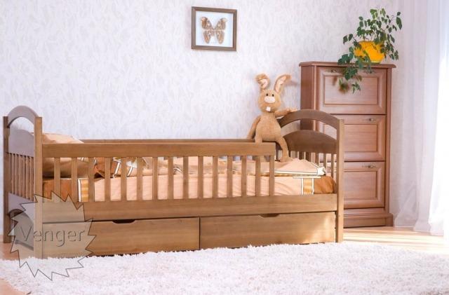 """Ліжко дитяче з перегородками та шухлядами """"Аріна"""" - меблі з дерева в дитячу та спальню від фабрики Venger"""