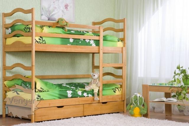 """Ліжко дитяче двоярусне """"Софія"""" - меблі з дерева в дитячу та спальню від фабрики Venger"""