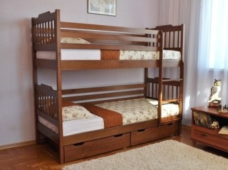 """Ліжко двоярусне """"Єва"""" - меблі з дерева в дитячу та спальню від фабрики Venger"""
